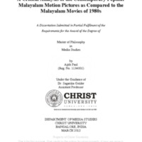 A Critical Analysis of the Contemporary Popular Malayalam Motion Pictures as Compared to the Malayalam Movies of 1980s